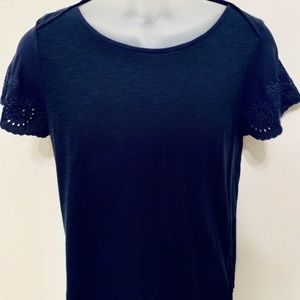 ANN TAYLOR Women's S Small Navy Blue Eyelet Blouse